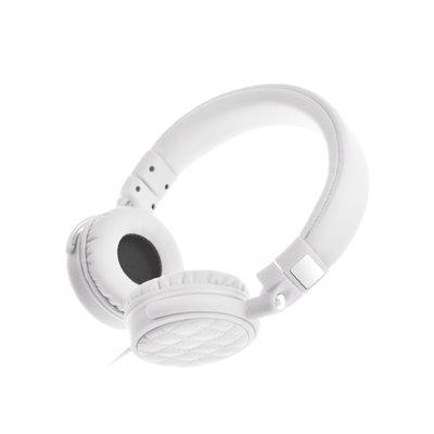 uldum u502手机耳机头戴式立体声带线控麦克风按键通用耳塞 (白色)