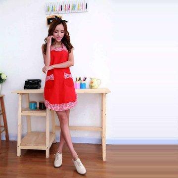 乾越 时尚优雅可爱公主围裙 手工棉围裙 英格兰条纹搭配(红底黑边)