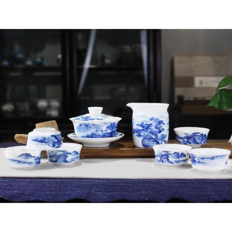 古印尚源8头香山居士景德镇茶具手绘青花瓷套装