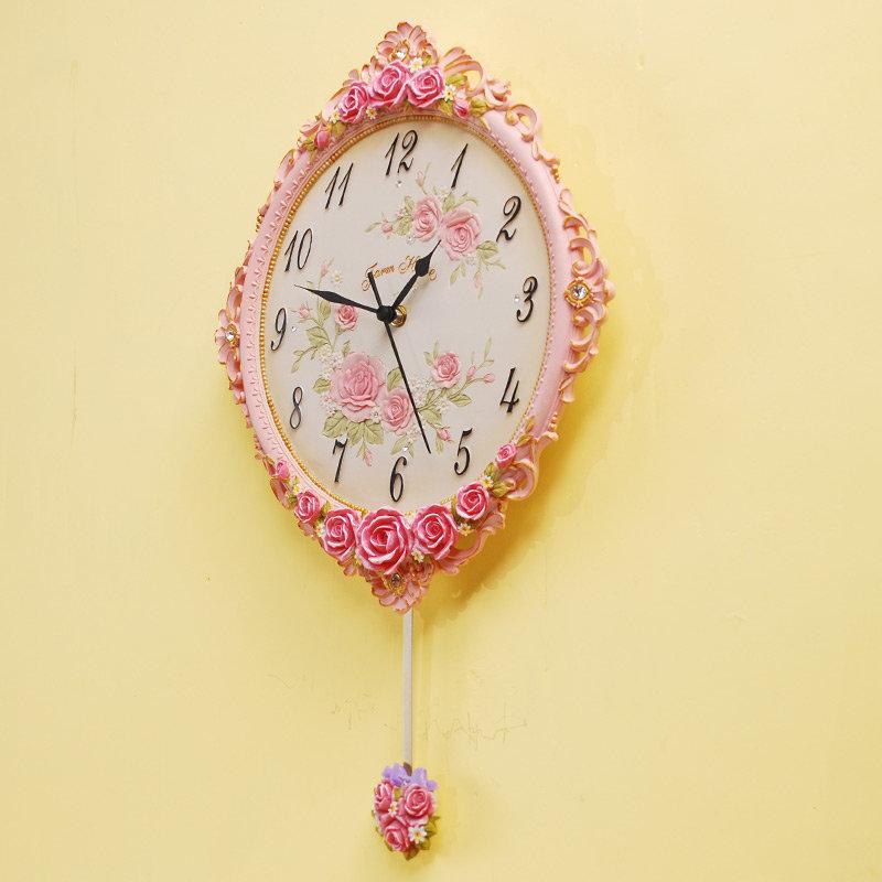 欧式田园浮雕玫瑰装饰挂钟带钟摆 卧室圆形钟表挂件客厅家居饰品(yj-4