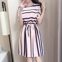 Mistletoe连衣裙短袖 2017夏季新款韩版女装女裙 条纹裙子(粉红色 M)