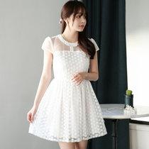 Mistletoe夏装新款 刺绣修身蕾丝连衣裙F6669(白色 XL)