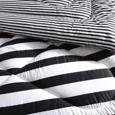雪诗颐家纺 秋冬被子 时尚黑白冬被加厚保暖纤维印花条纹被芯(黑白画