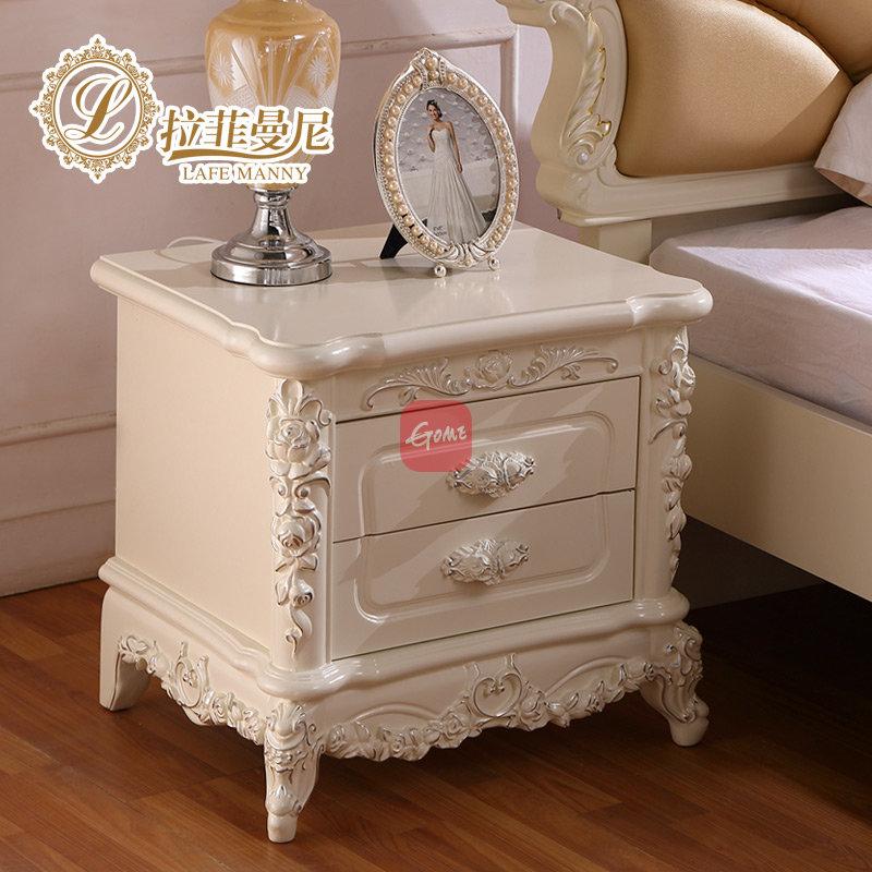 拉斐曼尼 欧式床头柜 法式白色柜子 实木床头柜 收纳柜 fb010