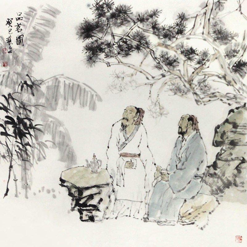 王艺千 品茗图>国画人物画水墨写意文人逸士老叟山石松树茶杯芭蕉斗方