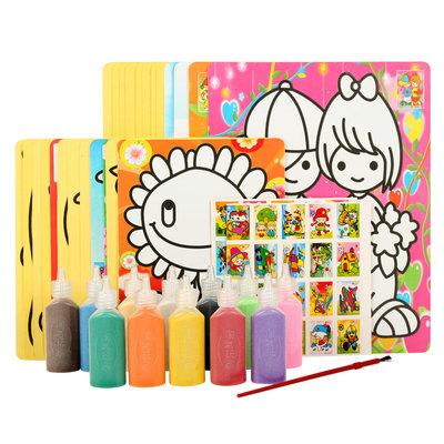 沙画沙子diy套装儿童手工画制作女孩礼盒玩具批发(男孩款12色带沙盘)