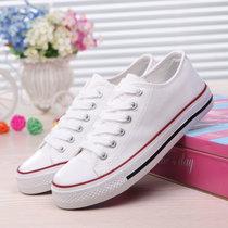 纯色系带韩版帆布鞋情侣款 低帮帆布鞋?#20449;?#24179;底休闲鞋学生鞋透气布鞋(白色黑边 36)
