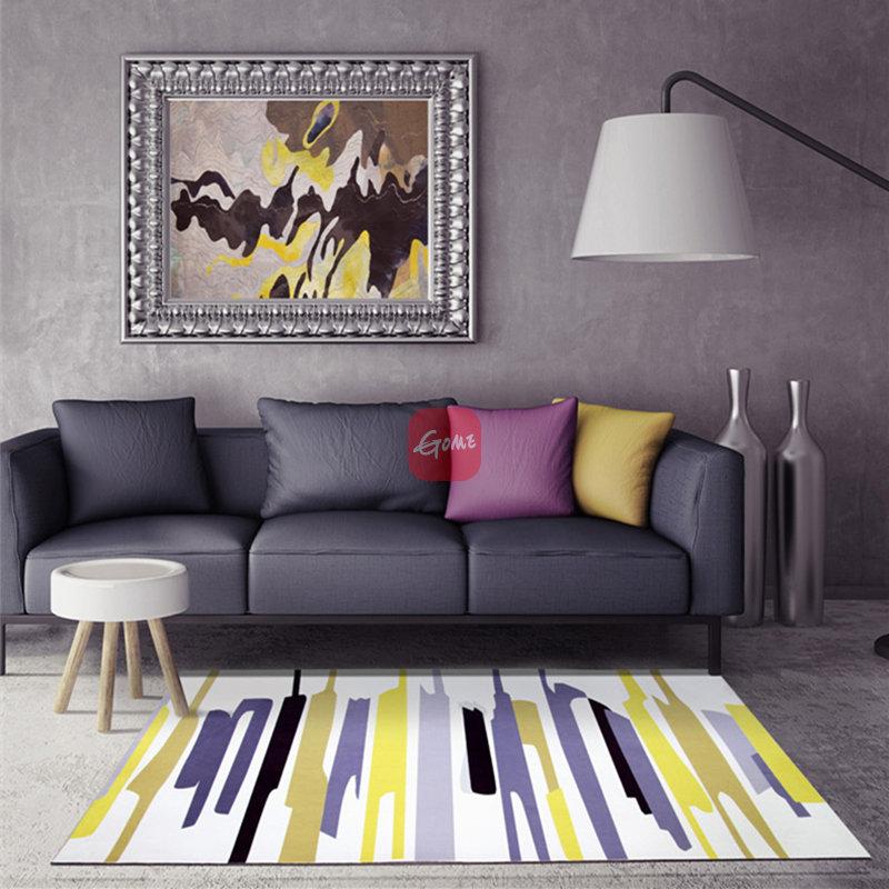 北欧地毯客厅简约现代沙发茶几地毯宜家几何长方形卧室床边毯(h款 80