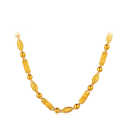 喜福龙 黄金项链 足金时尚橄榄珠竹节圆珠金项链 男女