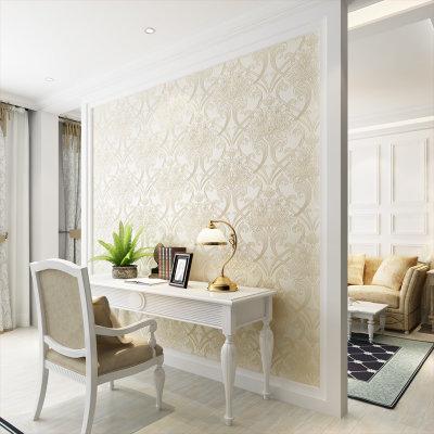 旗航壁纸 欧式立体3d壁纸卧室客厅电视背景墙无纺布墙纸 羽翼(032米色