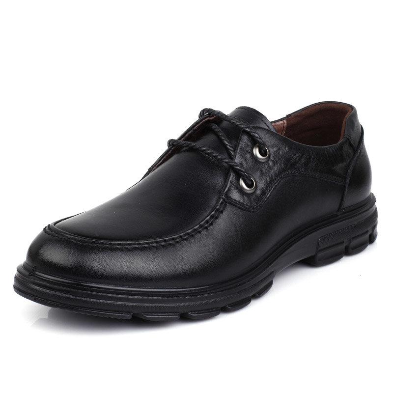 意尔康男鞋韩版时尚系带商务休闲舒适轻便男士单鞋真皮皮鞋男91824(黑色 91824-10 44)第2张商品大图
